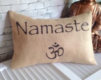 NAMASTE,OHM,YOGA Pillow, Burlap,Insert Included
