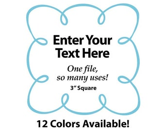"""EDITABLE Printable 3"""" Sq. Aqua LOOPY SCROLL - Address Labels, Business Cards, Price Tags, Gift Tags & more - Change text again and again"""