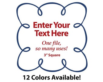 """EDITABLE Printable 3"""" Sq. Navy Blue LOOPY SCROLL - Address Labels, Business Card, Price Tags, Gift Tags & more - Change text again and again"""