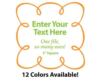 """EDITABLE Printable 3"""" Sq. Orange LOOPY SCROLL - Address Labels, Business Cards, Price Tags, Gift Tags & more - Change text again and again"""