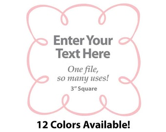 """EDITABLE Printable 3"""" Sq. Pink LOOPY SCROLL - Address Labels, Business Cards, Price Tags, Gift Tags & more - Change text again and again"""