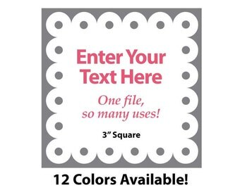 """EDITABLE Printable 3"""" SCALLOP Square - Gray - Address Labels, Business Card, Price Tags, Gift Tags & more - Change text again and again"""