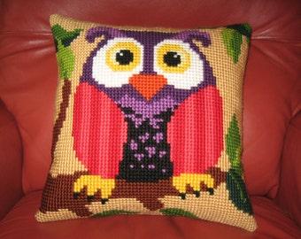 Orange Owl Needlepoint Pillow