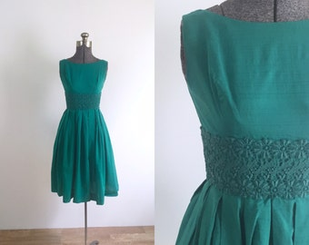 1950s Vintage Turqouise Day Dress |  xxs/xs