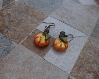 Handcrafted Pumpkin Earrings-Gold Toned