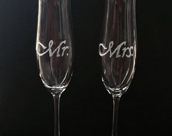 Mr. & Mrs. Hand Etched Champagne Flutes