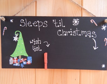 Christmas countdown plaque, Christmas wish list, Christmas sign, Countdown to Christmas, Christmas decoration, Sleeps until Christmas