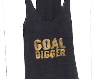 Goal Digger Eco Tank, Gym Tank, Fitness Top, Yoga Top, Tri-black by Sloganfit
