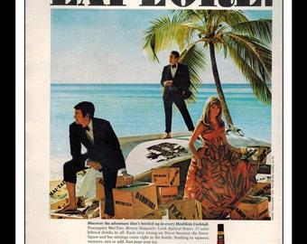 "Vintage Print Ad March 1969 : Heublein Adventurous Cocktail Sexy Girl Island  Wall Art Decor 8.5"" x 11"" each Advertisement"