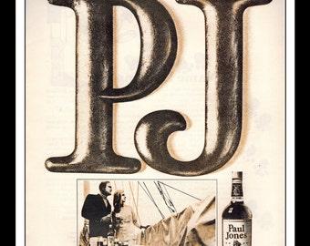 "Vintage Print Ad March 1969 : Paul Jones American Blended Whiskey Sailboat Wall Art Decor 8.5"" x 11"" each Advertisement"