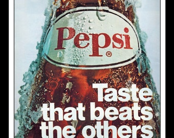 """Vintage Print Ad April 1969 : Pepsi """"Taste that beats the others cold!"""" Wall Art Decor 8.5"""" x 11"""" Advertisement"""