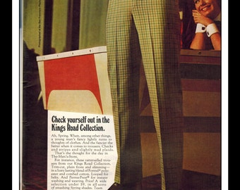 "Vintage Print Ad April 1969 : Sears The Men's Store Single Page Wall Art Decor Color 8.5"" x 11"" Advertisement"