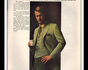"Vintage Print Ad April 1969 : Cricketeer Wool Fashion ""Slay your Dragon"" Clothing Wall Art Decor 8.5"" x 11"" Advertisement"