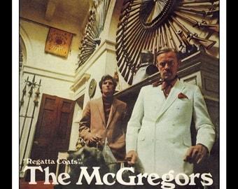 """Vintage Print Ad April 1969 : McGregor """"Regatta Coats"""" Advertisement Color Wall Art Decor 8.5"""" x 11"""""""
