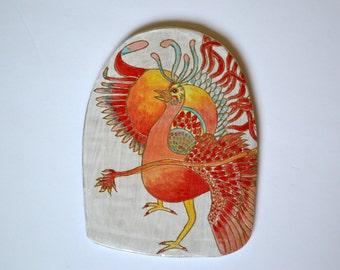 Phoenix Fire Bird Ceramic Wall Hanging Tile
