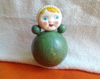 Roly Poly Toy Doll / Nevalyashka / Soviet vintage toy  / Vintage plastic soviet doll /  Nursery Decor / Made in USSR, 1970s