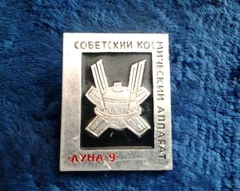 """Vintage Soviet badge """"Luna 9 - Soviet spacecraft"""" / Made in USSR, 1970s"""