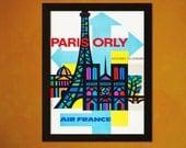 Vintage Paris Travel Print 1960s - Vintage Travel Poster Tourism Wall Decor Paris Poster Wall Art Gift Air France Poster BUY 3 Get 1 FREE