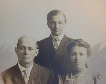 Antique Photograph, Vintage Family Photo, Mom, Dad & Son, circa 1910, Photograph Folder, Great Fashion from the Early 1900's