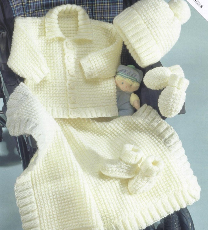 Knitting Patterns For Baby Mittens And Booties : Knit baby cardigan jacket hat mittens booties and blanket size