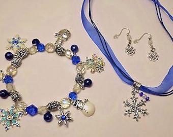 Snowman Christmas Jewelry set, Christmas Snowflake Necklace, Christmas Charm Bracelet, Winter, Jewelry,Gift, Christmas Gift, Snowman Jewelry