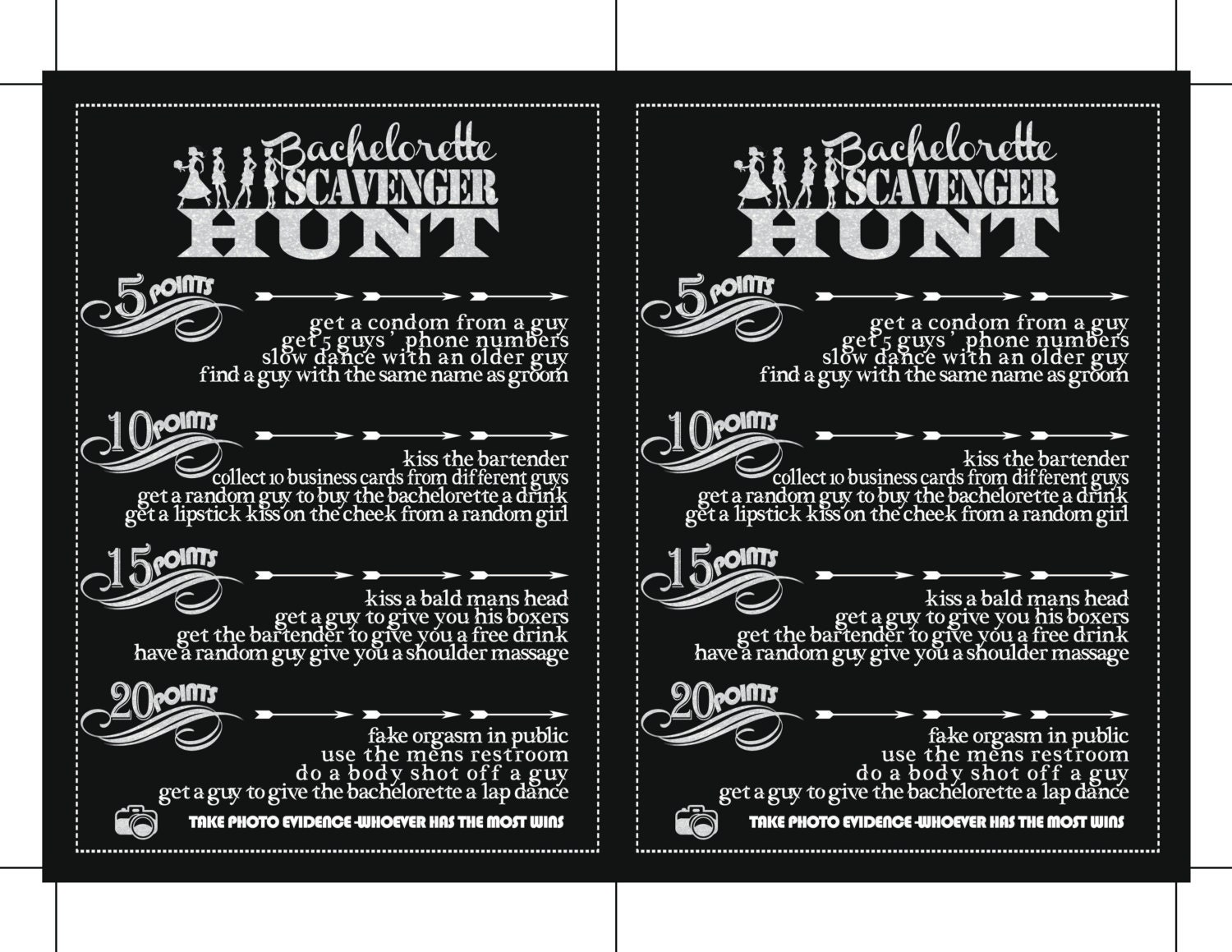 Set of Two Cards Bachelorette Game Template Printable Scavenger ...