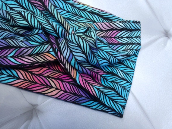 Women's Turban Style Knit Fabric Headband - Feather's and Fall Braided Teal Pink Blue Headwrap - Knit Headband
