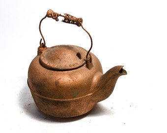 Antique Cast Iron Coffee Pot Tea Kettle Whiteman and Cox No 106 nth 2nd St Phila Rare tea Pot Rustic PA home Decor Farmhouse Antiques