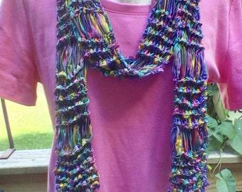 Vibrant ribbon yarn scarf