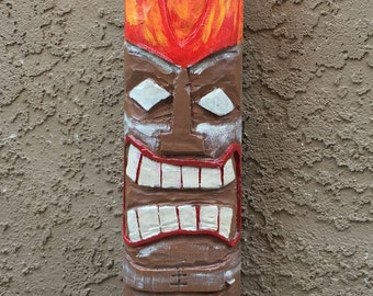 Wooden Tiki Totem with Fire Head