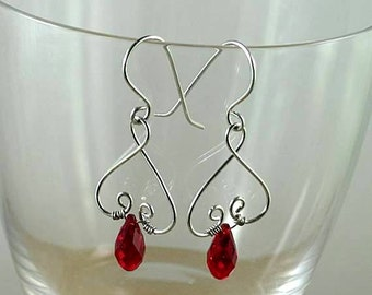 Valentine Garnet Swarovski Crystal Renaissance Earrings - Wire Wrapped