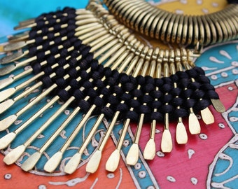 Ethnic/ Tribal Necklace- Black, spikes, yarn