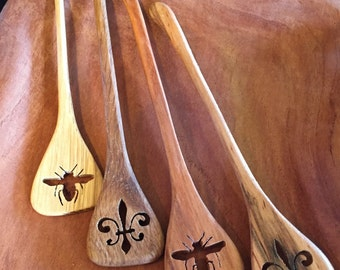 Handmade hardwood honey dripper/coffee stirers Your choice Bee or Fleur De Lis handcut