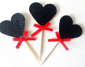 12 black Heart Toppers. Cupcake topper or Food Pick