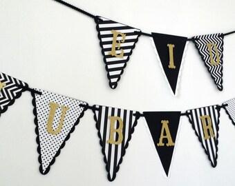 Eid Mubarak Banner - black, white & gold