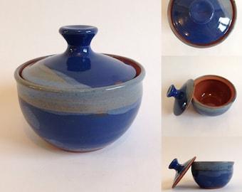 Ceramic Sugar Bowl / Handmade Pottery / Dark & Light Blue