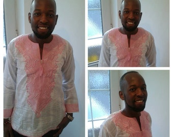 White and pink embroidered shirt. Medium