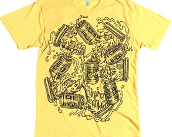 Pizza & Beer - T shirt tee shirt cotton poly soft heathered water based ink beer pizza food yellow shirt