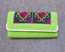 Green, orange, pink long wallet C embroidered wallet ethnic ,button zipper clutch purse cute wallet women gift ideas