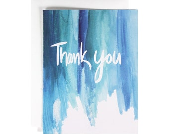 Watercolor Thank You Card, Hand Lettered,  blue, hand made, minimalist, simple