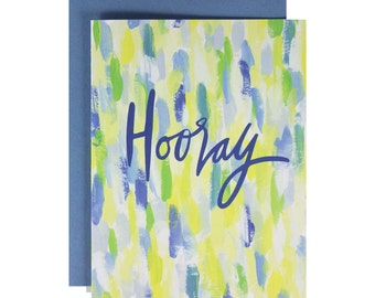 watercolor celebration card, hand lettered, congratulations, hooray, hand painted