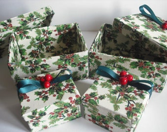 Beautiful handmade Christmas Holly boxes, made from lovely Christmas fabric. with a holly berry topping to the boxes....
