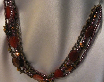 Assemblage Necklace, Amber Necklace, Multi-strand Necklace, Statement Necklace, Layered Necklace, Multi-Strand Necklace , Fall Necklace
