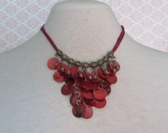 Red Shell Necklace, Shell necklace, 5 Cord Necklace