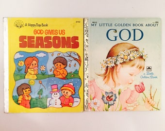 Vintage Happy Day And Little Golden Books About God For Children