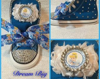 Toddler Custom Cinderella Bling High Top Converse (Size 3-10)