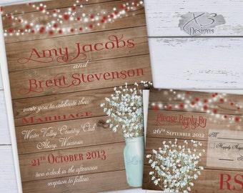 Winter Printable Wedding Invitation, Rustic Wedding Invitation with Mason Jar, Red Country Wedding Invite, Baby's Breath w/ String Lights