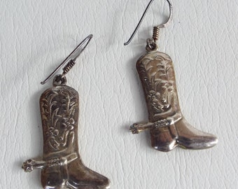 Vintage 925 Silver Western Puffy Cowboy/ Cowgirl Boot Dangling Earrings