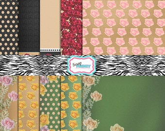 "10 Vintage Victorian Digital Graphics// Floral Papers 12"" x 12""// Roses// French Cottage Chic// Digi Scrapbooking// Card Making// Printables"
