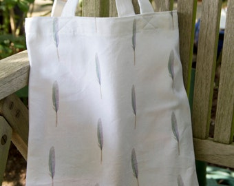 Feather Print Cotton Book Bag